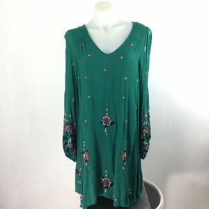 Free People Oxford Embroidered Shift Boho Dress